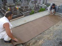 防草マット及び砂利敷き込み